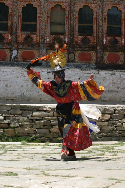 Performing masked dance during festival
