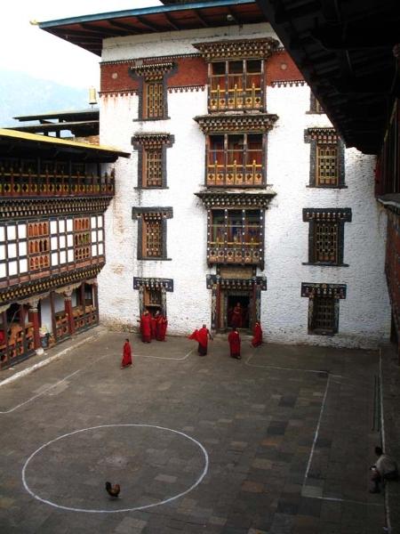 Monks inside Punakha Dzong